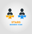simple business icon of 3 stars man favorite vector image
