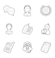 Technical support icons set outline style vector image