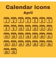 The calendar icon April symbol Flat vector image