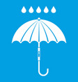 umbrella and rain drops icon white vector image vector image