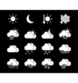 Weather icons in black and white vector image