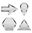 white shiny web icons with metal frame vector image vector image