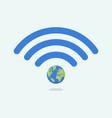 wifi symbol with planet earth vector image vector image