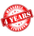 4 years warranty stamp vector image