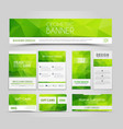 Set of green corporate style polygonal vector image
