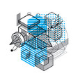 abstract background with isometric lines and vector image vector image