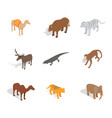 animals icon set isometric style vector image vector image
