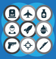 army icons set collection of bombshell rip vector image