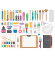 art supplies artist toolkit with crayons brushes