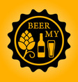 beer icon with hop glass and bottle vector image