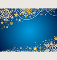 blue christmas background with frame of golden vector image