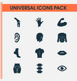 body icons set with back eye spine and other vector image