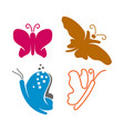 butterfly application line logo design icon set vector image vector image