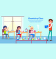 cheerful atmosphere in chemistry class poster vector image