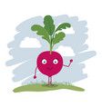colorful background with cartoon beet vector image