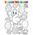 coloring book easter eggs and chicken 1 vector image vector image