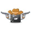 cowboy cartoon esc button attached to computer vector image vector image