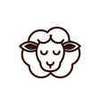 cute face sheep animal cartoon icon thick line vector image