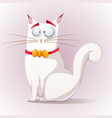 cute funny cat with bow vector image vector image