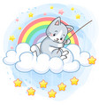 cute kitten on a cloud in a rainbow world fishing vector image