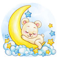 cute watercolor white bear boy sleeping vector image