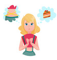 dieting lining lady temptations cartoon character vector image