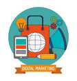 digital marketing business network website vector image