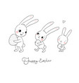 easter bunnies cute cartoon hares with eggs vector image