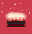 festive chocolate birthday cake with candles on a vector image