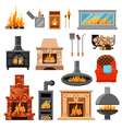 Fireplaces Icons Set vector image