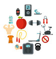 fitness icons set flat style vector image