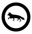 fox of silhouettes icon black color in circle vector image vector image