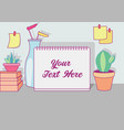 frame note on the table background vector image