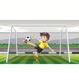 Goalkeeper kicking soccer ball vector image