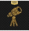 Gold glitter icon of telescope isolated on vector image
