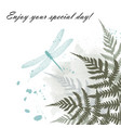 greeting card with blue dragonfly and fern frond vector image