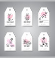 hanging tags with cat breeds cats promo for pet vector image