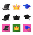 isolated object of headgear and cap symbol set of vector image vector image