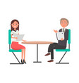 man and woman on business meeting at round table vector image