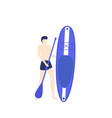 man with sup board and paddle vector image