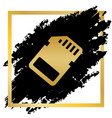 memory card sign golden icon at black vector image vector image