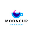 moon cup coffee tea overlay overlapping logo icon vector image