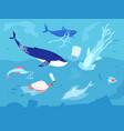 ocean plastic pollution sea plastics animal vector image vector image