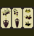 olive oil set labels with olive branches and vector image vector image