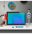 Online education concept workspace with computer vector image