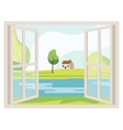 Open Window with a Landscape View vector image
