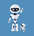 robot with raised arm and dog vector image vector image