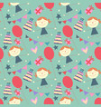 seamless cute girl and balloon background pattern vector image