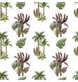 seamless pattern with exotic trees such us palm vector image vector image