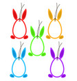 set 5 easter hangtags eggs bunny ears feet frame vector image